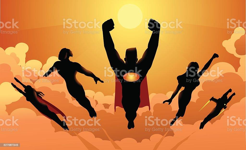 Flying Team of Superheroes Silhouette vector art illustration