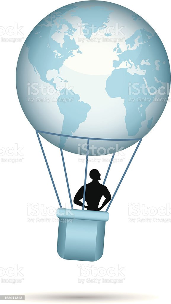 flying the world vector art illustration