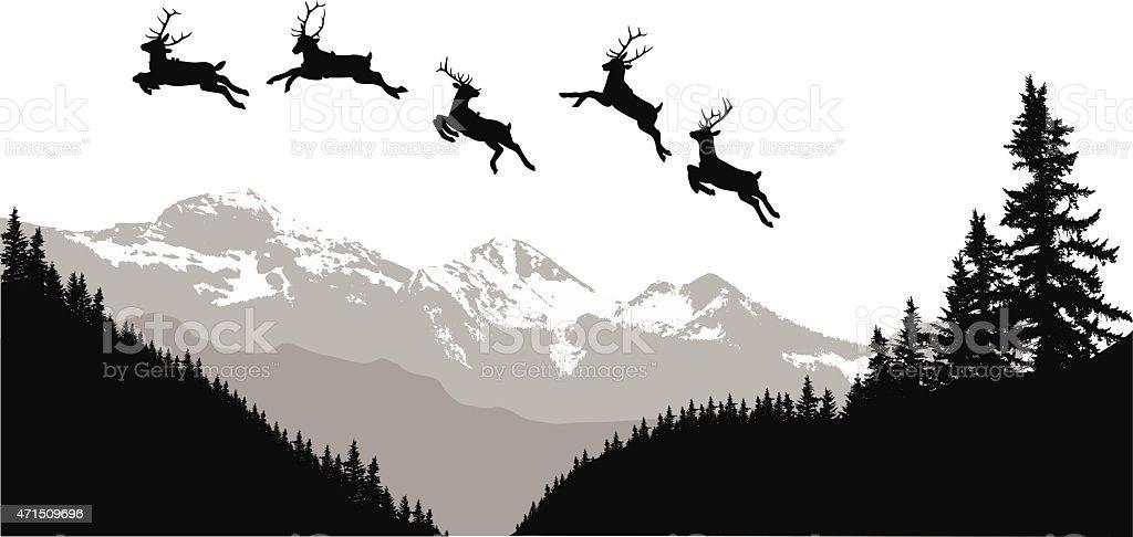 Flying Through Mountains vector art illustration