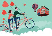 Couple on a tandem bike in the sky. Fantasy illustration.