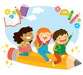 Happy school kids riding a flying pencil and looking excited about learning