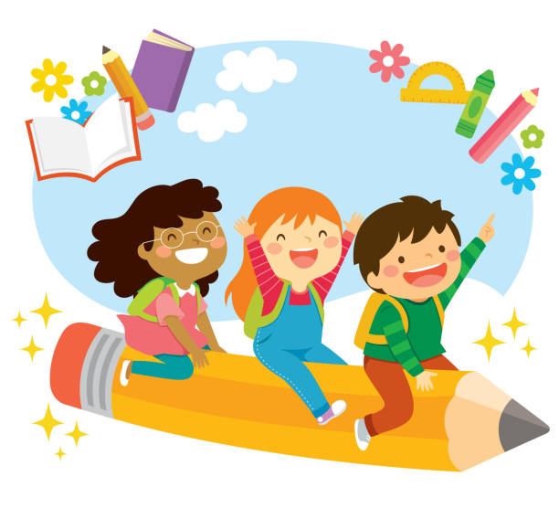 Flying to School Happy school kids riding a flying pencil and looking excited about learning book clipart stock illustrations