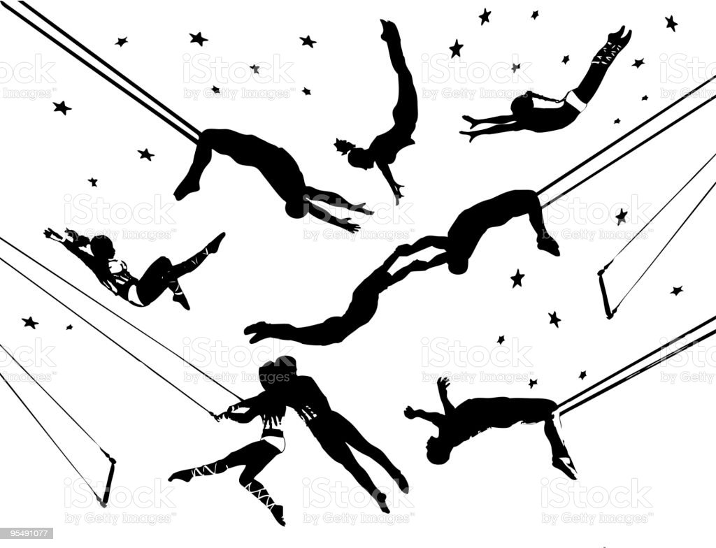 Flying trapeze circus acrobats vector art illustration
