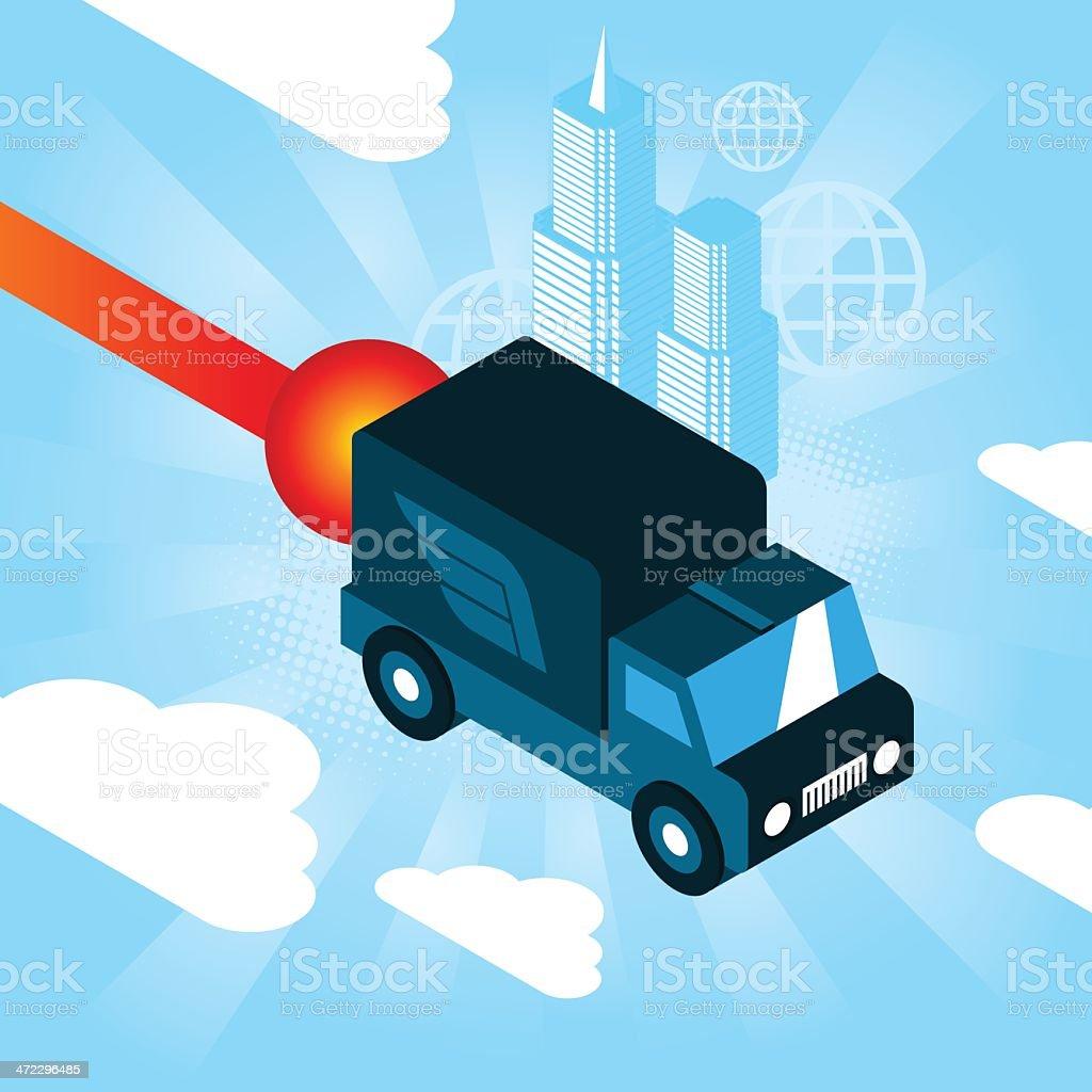 Flying truck royalty-free stock vector art