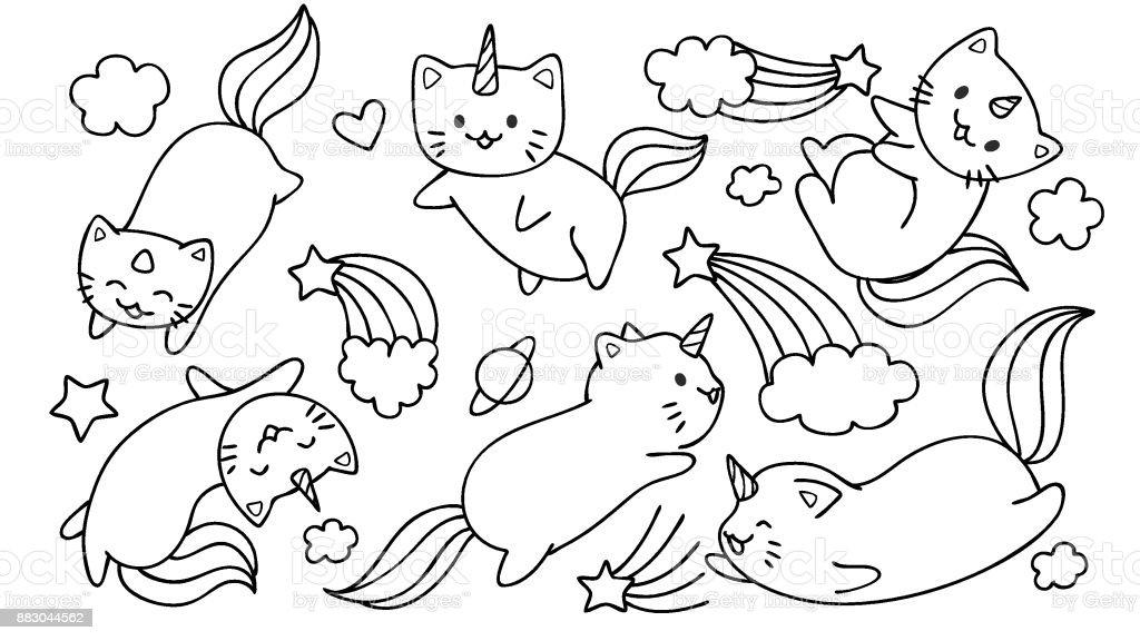 Ilustración de Gato De Unicornio Volador y más banco de imágenes de ...