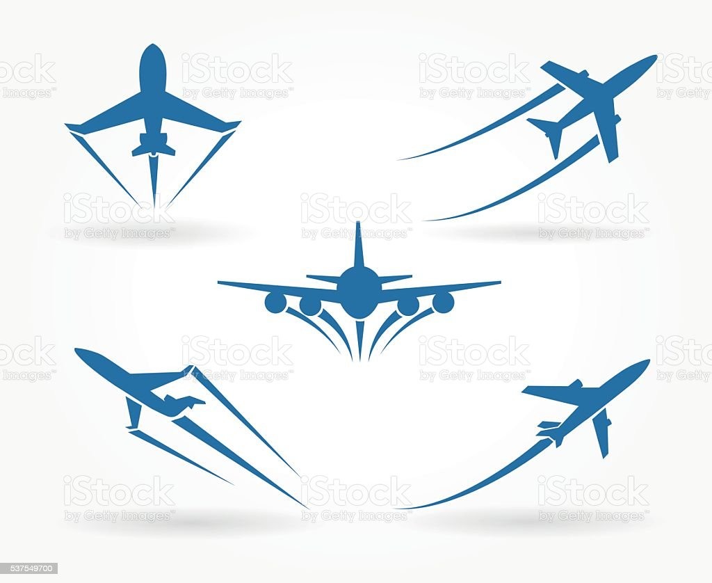 Flying up airplane icons vector art illustration