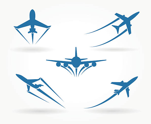 Flying up airplane icons Flying up airplane icons. Takeoff plane symbol. Vector illustration aviation and environment summit stock illustrations