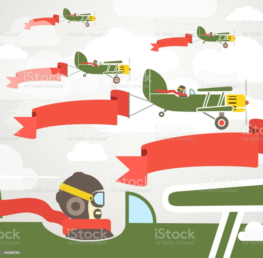Flying vintage group of planes with banners royalty-free stock vector art