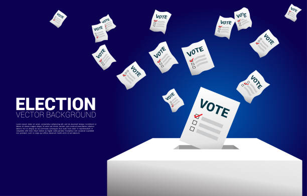 flying vote paper put in election box. - ballot stock illustrations
