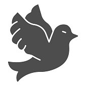 Flying wedding dove solid icon, domestic animals concept, Flying bird sign on white background, pigeon bird icon in glyph style for mobile concept and web design. Vector graphics