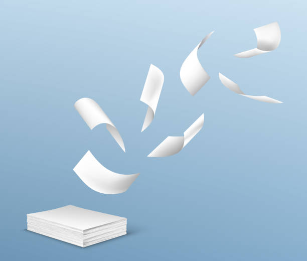 Flying white paper sheets from stack of documents Flying white paper sheets from stack of documents. Vector realistic illustration of chaotic flight of blank note pages on wind on blue background. Office paperworks concept flying stock illustrations