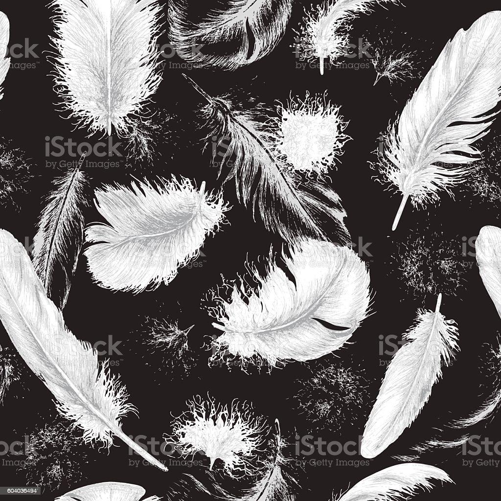 Flying white plumes on black - ilustração de arte em vetor