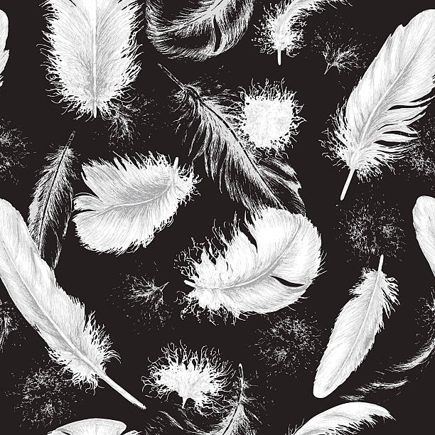 flying white plumes on black - fur texture stock illustrations, clip art, cartoons, & icons