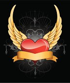 Flying Wing Heart tattoo design