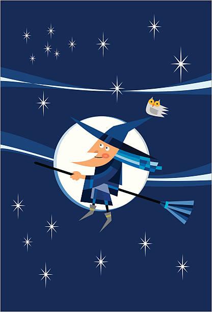 ilustraciones, imágenes clip art, dibujos animados e iconos de stock de flying de brujas - tintanegra00