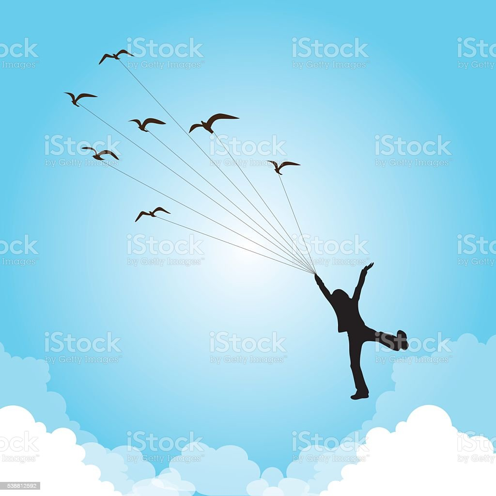 Flying with birds vector art illustration