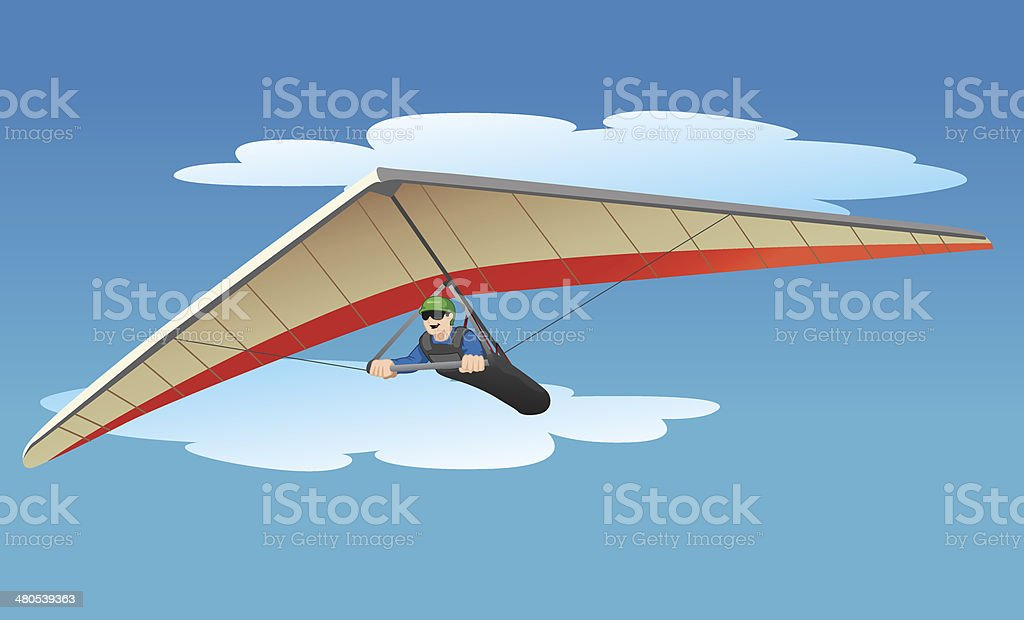 Flying with Hang gliding vector art illustration
