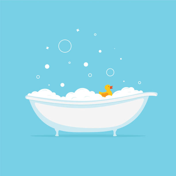 Foam bath with yellow duck and bubbles. Vector vector art illustration