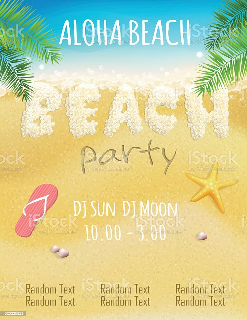 Foam beach party flyer template vector art illustration