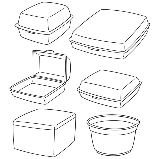 foam container - junk food stock illustrations, clip art, cartoons, & icons