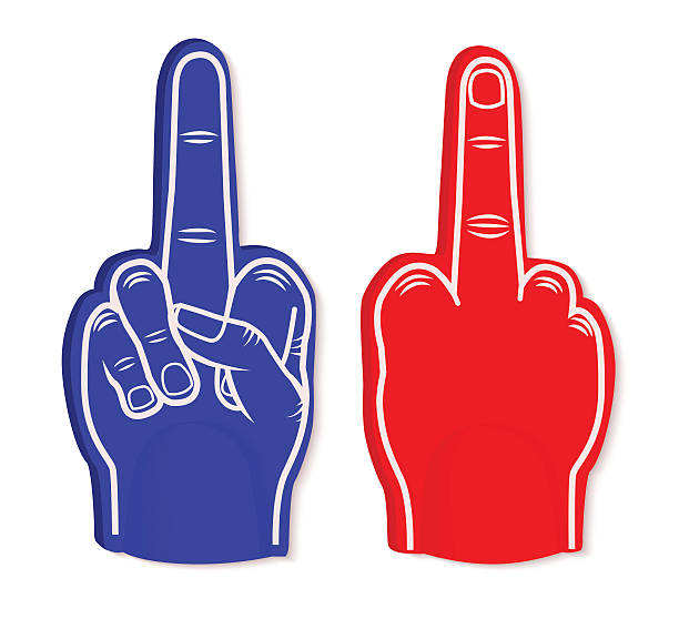ilustraciones, imágenes clip art, dibujos animados e iconos de stock de mano de espuma - middle finger