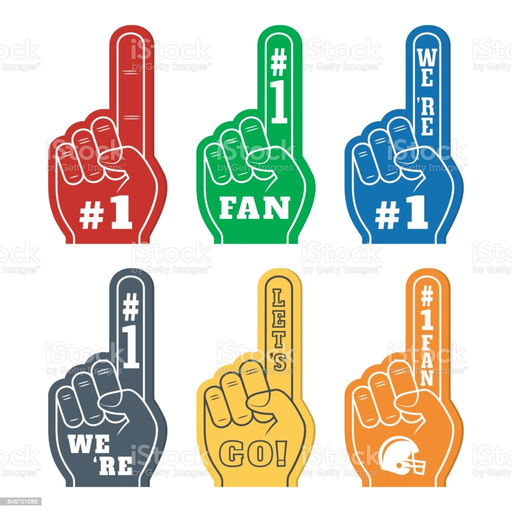 Foam fingers icons in six colors. We're #1. Lets' Go. Number One Fan vector art illustration