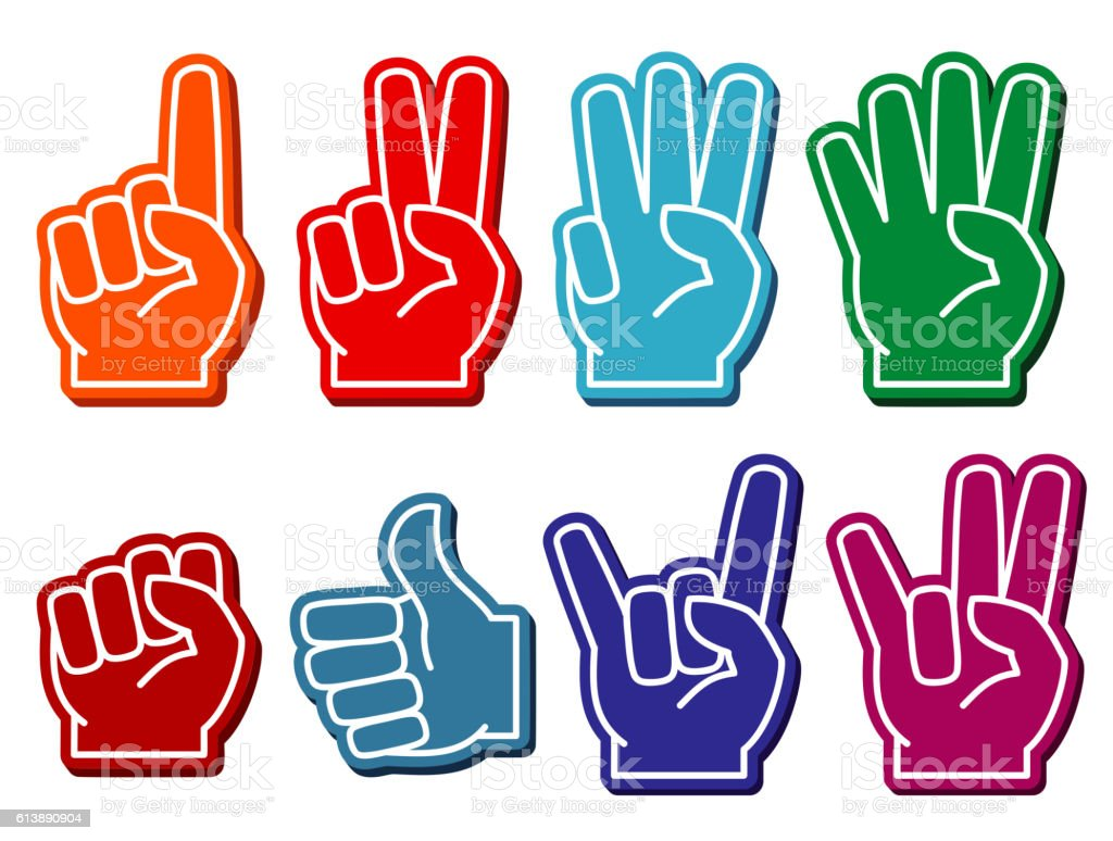 Foam fingers vector set vector art illustration