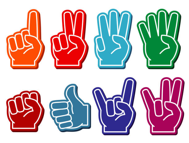 Foam fingers vector set vector art illustration