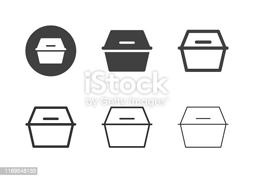 Foam Food Box Icons Multi Series Vector EPS File.
