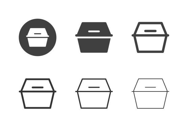 illustrations, cliparts, dessins animés et icônes de icônes de boîte de nourriture de mousse - série multi - récipient