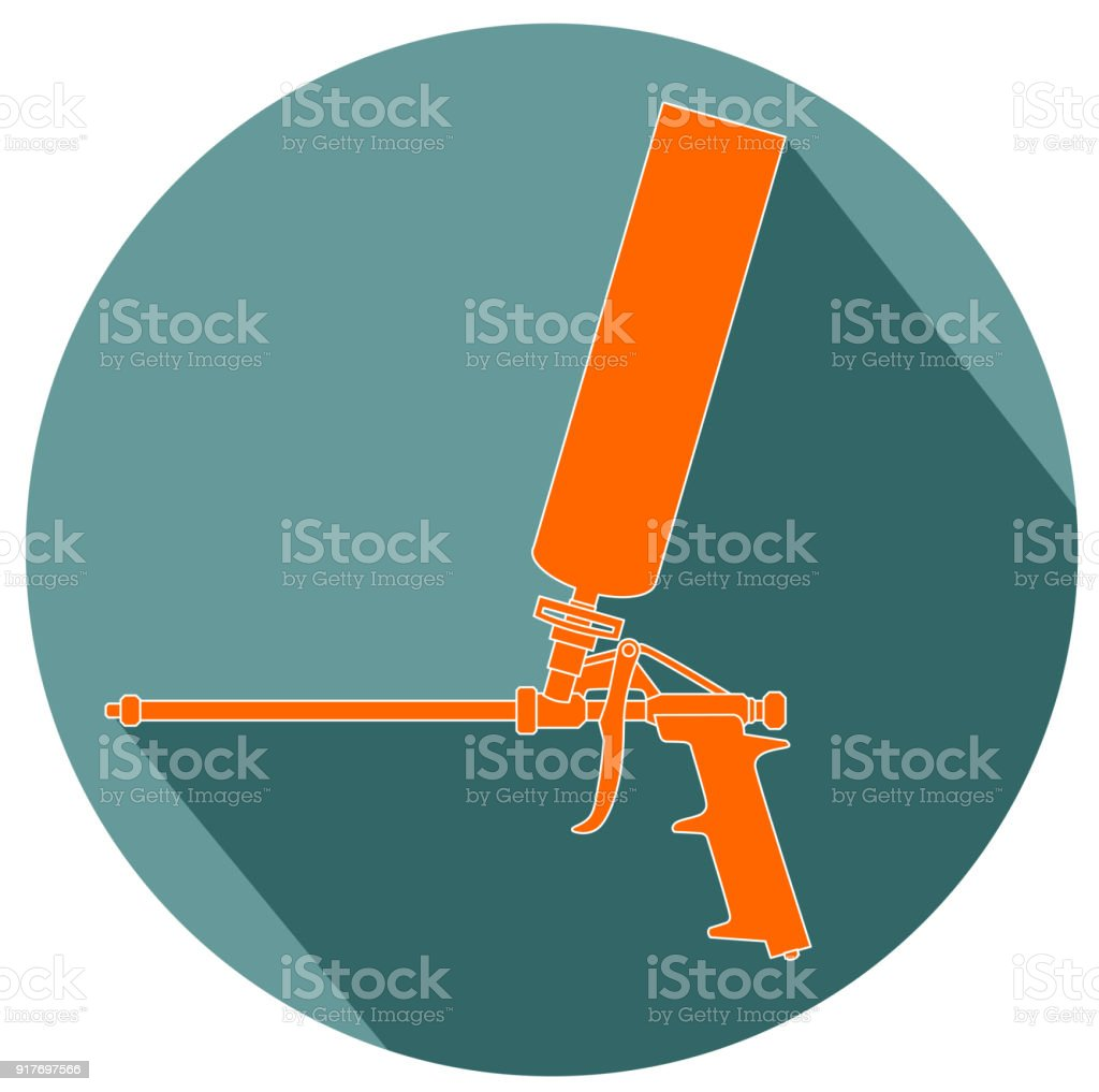 Foam gun flat design vector art illustration