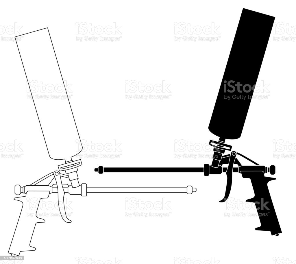 Foam gun set vector art illustration
