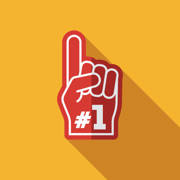 Foam Hand Flat Design Football Game Icon A flat design styled icon with a long side shadow. Color swatches are global so it's easy to edit and change the colors. fan enthusiast stock illustrations