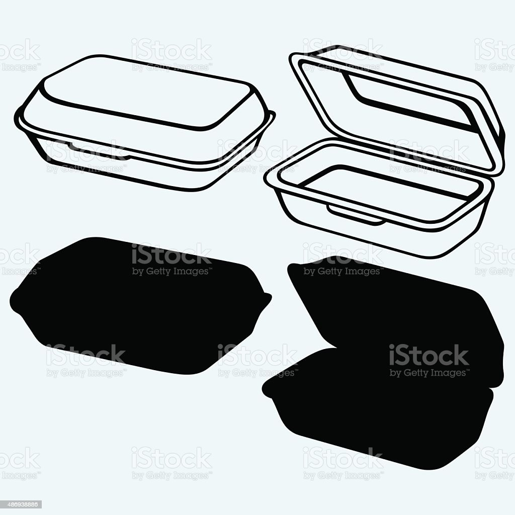 Foam meal box vector art illustration