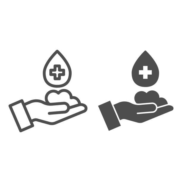 手線上的泡沫和實心圖示。洗手可防止病毒符號輪廓樣式象形圖在白色背景。保護冠狀病毒安全生命標誌,用於移動概念和網路設計。向量圖形。 - 疫病預防 幅插畫檔、美工圖案、卡通及圖標
