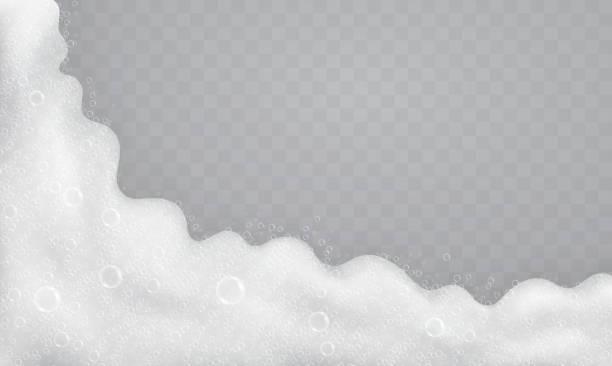 illustrations, cliparts, dessins animés et icônes de mousse avec des bulles de savon, vue de dessus. flux des savons et shampooings. - mousse d'emballage
