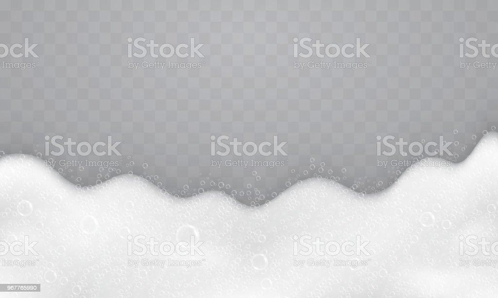 Espuma com bolhas de sabão, vista superior. Fluxo de sabonete e shampoos. - ilustração de arte em vetor