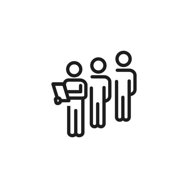 bildbanksillustrationer, clip art samt tecknat material och ikoner med ikon för fokus grupp linje - kö