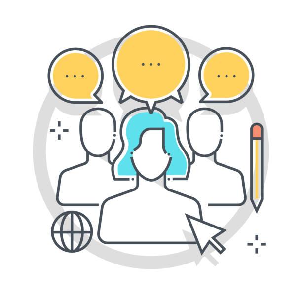 illustrazioni stock, clip art, cartoni animati e icone di tendenza di focus group related color line vector icon, illustration - focus group