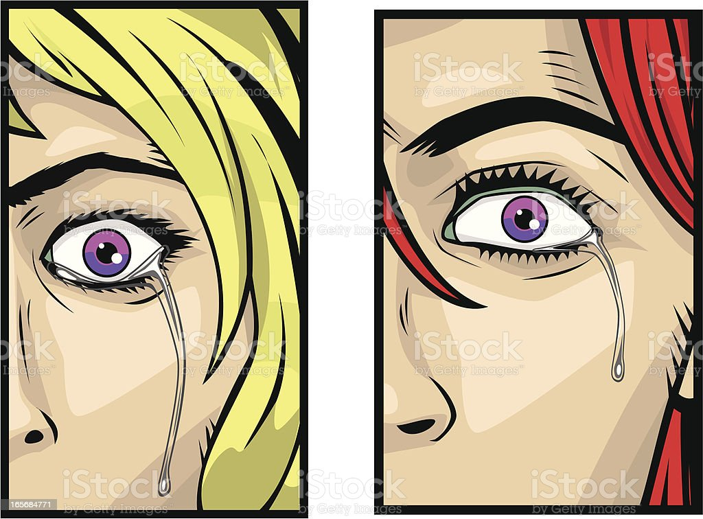 Focus on Eyes Crying royalty-free stock vector art
