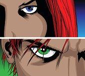 Woman and Man eyes.
