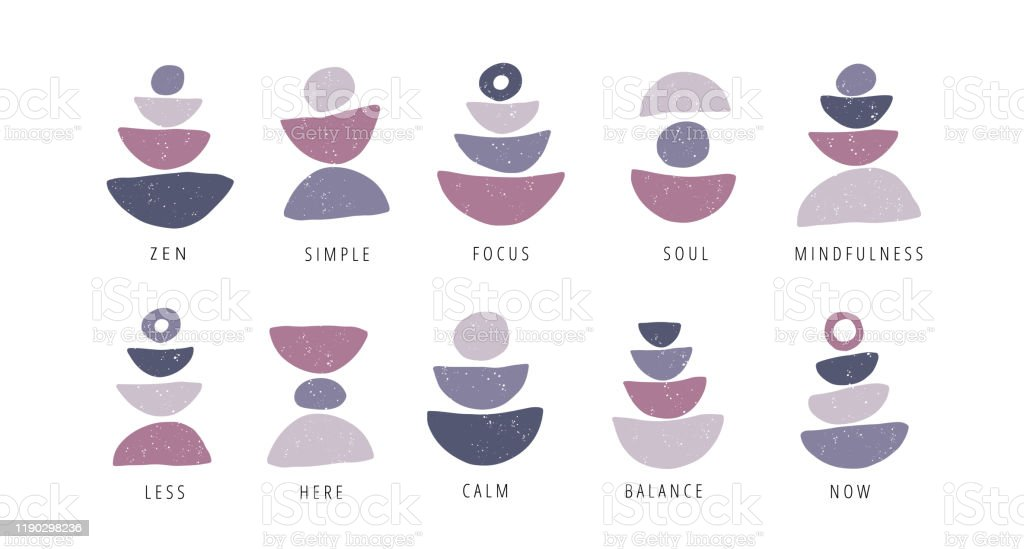 Focus, pauze, moment platte vector posters set - Royalty-free Achtergrond - Thema vectorkunst