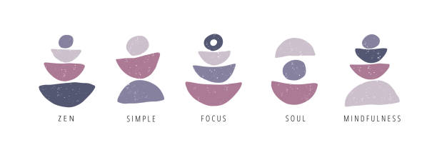focus, pause, moment flat vector posters set - mindfulness stock illustrations