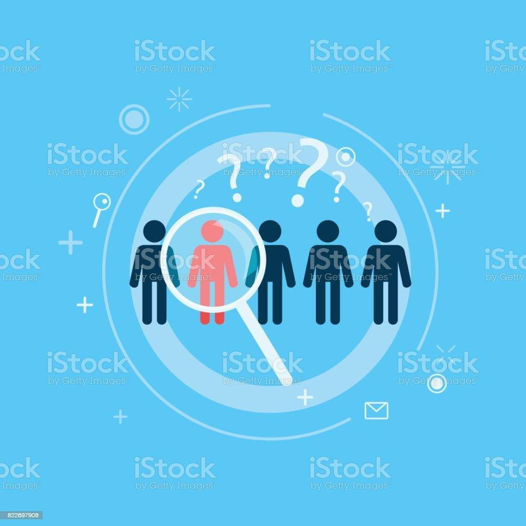 Grupo objetivo. Cinco personas se destacan uno con una lupa direccional - ilustración de arte vectorial