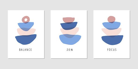 Focus, zen, balance, mindfulness flat vector posters set
