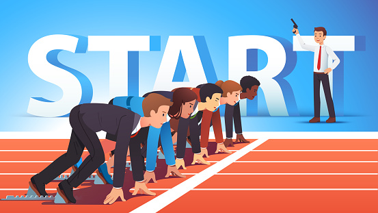 Focused business people group managers & entrepreneurs man, woman standing ready for run sprint competition on race track start line waiting starter pistol signal. Flat vector illustration