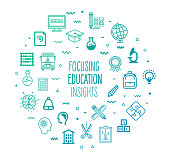 Focusing education insights outline style symbols on modern gradient background. Line vector icons for infographics, mobile and web designs.