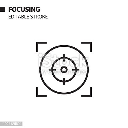 Focusing Line Icon, Outline Vector Symbol Illustration. Pixel Perfect, Editable Stroke.