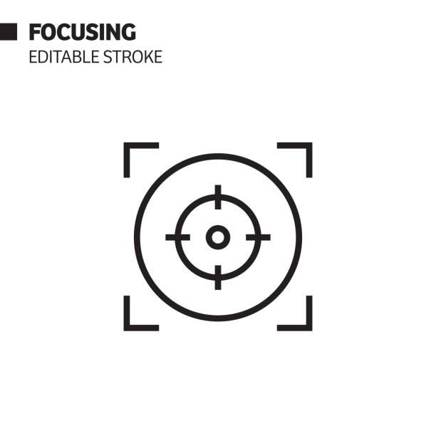Focusing Line Icon, Outline Vector Symbol Illustration. Pixel Perfect, Editable Stroke. Focusing Line Icon, Outline Vector Symbol Illustration. Pixel Perfect, Editable Stroke. focus stock illustrations