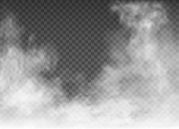 fog and smoke isolated on transparent background - smoke stock illustrations